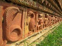 在Somapura Mahavihara废墟的安心在Paharpur,孟加拉国 免版税图库摄影