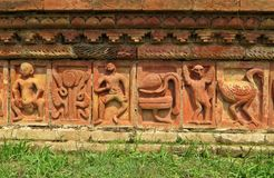 在Somapura Mahavihara废墟的安心在Paharpur,孟加拉国 库存图片