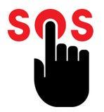在SOS按钮的手 免版税库存图片