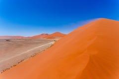 在sossusvlei纳米比亚,从一个沙丘45的顶端看法的沙丘45在sossusvlei纳米比亚,从沙丘的顶端看法 免版税库存图片