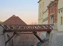 在Spilberk城堡,城市布尔诺的桥梁 免版税库存照片