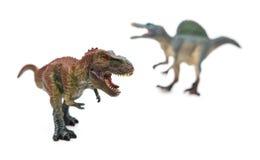 在spinosaurus前面的暴龙在白色 免版税库存照片