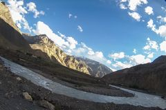 在Spiti谷的日落 图库摄影