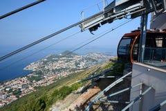 在Srd小山驻地的缆车 杜布罗夫尼克市 克罗地亚 免版税库存图片