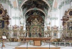 在St.Gallen瑞士的大教堂内部 库存照片