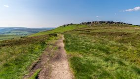 在Stanage边缘,德贝郡,英国,英国的高峰区风景 免版税图库摄影