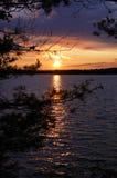在Star湖, WI的日落 免版税库存图片