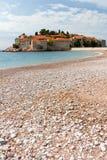 在stefan sveti附近的budva海岛montenegro 图库摄影