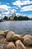 在Stolobny海岛,特维尔上的Nilov修道院地区 从半岛Svetlitsa的看法 库存图片