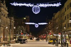 在Storgatan的圣诞节装饰在LuleÃ¥ 库存照片