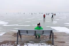 在Strandbad Weiden上午Neusiedlersee的冬天场面 免版税图库摄影
