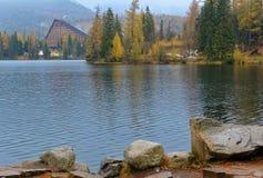 在Strbske普莱索的全景视图与Patria旅馆的高Tatras的 免版税图库摄影