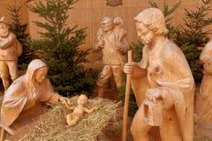 在strobl,奥地利的圣诞节小儿床 图库摄影