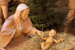 在strobl,奥地利的圣诞节小儿床 库存照片