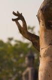 在Sukhothai历史公园,泰国的古老菩萨雕象 库存照片