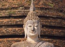 在Sukhothai历史公园,泰国的古老菩萨雕象 免版税图库摄影