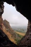 在Sulayman-Too山的洞在奥什市,吉尔吉斯斯坦 库存图片