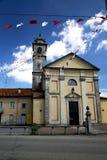 在sumirago老教会砖塔边路意大利lomb 库存照片