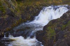 在Suna河,卡累利阿,俄罗斯的Kivach瀑布 免版税库存照片