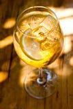 在sunlights的汽酒鸡尾酒 香槟与冰块和柑橘的酒精饮料 顶视图 软的焦点,浅 免版税库存照片