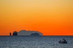 在sunrising的货船 免版税图库摄影