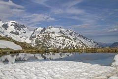 在Sustenpass的冬天末端 免版税库存照片
