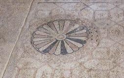 在Susya犹太教堂的古老拼花地板在约旦河西岸 免版税库存照片