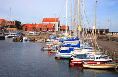 在Svaneke的端口, Bornholm,丹麦 图库摄影