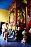 在Swayambhunath寺庙或猴子寺庙的佛教gompa 库存图片