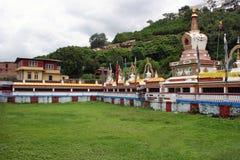 在Swayambhunath寺庙,加德满都,尼泊尔的Stupa 免版税库存图片