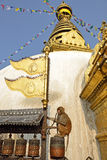 在stupa的猴子在加德满都 免版税库存图片