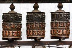 在Swayambunath寺庙,加德满都,尼泊尔的地藏车 库存图片