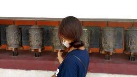 在Swayambunath的夫人祷告 图库摄影
