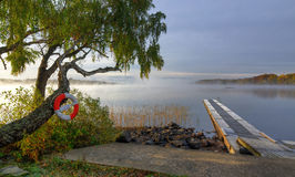 在Swedsih湖的有雾的早晨 免版税库存图片