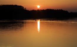 在Swithland水,Swithland莱斯特的黄褐色的日落 图库摄影