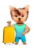 在T恤杉的拿着行李的动物和短裤 向量例证