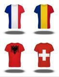 在T恤杉的法国,罗马尼亚,阿尔巴尼亚,瑞士旗子 图库摄影