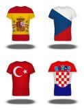在T恤杉的西班牙,捷克,土耳其,克罗地亚旗子在白色背景 图库摄影
