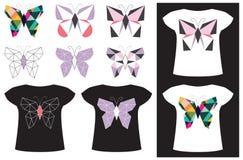 在T恤杉的蝴蝶应用 库存照片