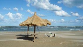 在t的遮阳伞在海滩 库存图片