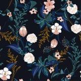 在t的黑暗的时髦的开花的五颜六色的森林庭院花卉样式 皇族释放例证