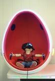 在T雷克斯行星,图森博览中心的一场虚拟现实比赛 库存图片