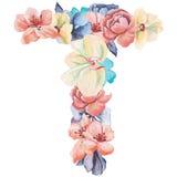 在T水彩花,被隔绝手拉在白色背景,婚姻的设计上写字,英语字母表 免版税库存照片