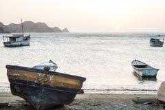 在Taganga海湾的日落 免版税库存图片