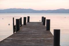 在Tahoe的日落 库存照片