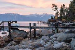 在Tahoe 2的日落 图库摄影