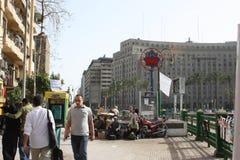 在tahrir街市开罗埃及的著名Mogamma大厦 库存图片