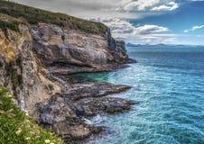 在Taiaroa头, Otago半岛, NZ的灯塔 免版税图库摄影
