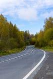 在taiga的路在秋天在卡累利阿 免版税图库摄影
