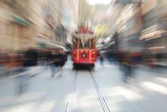 在taksim正方形的电车 库存图片